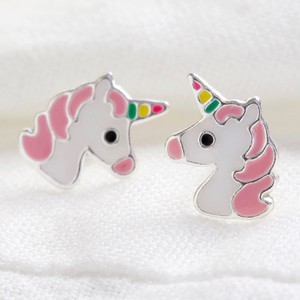 Sterling Silver Pink Unicorn Stud Earrings