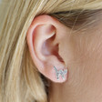 Lisa Angel Sterling Silver Crystal Cat Stud Earrings on Model