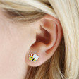 Lisa Angel Quirky Sterling Silver Cute Bee Stud Earrings on Model