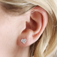 Lisa Angel Ladies' Sterling Silver Hammered Heart Stud Earrings on Model