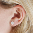 Lisa Angel Sterling Silver Daisy Flower Stud Earrings on Model