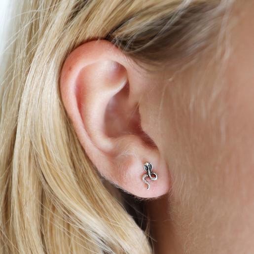 dd6a66c52 Lisa Angel Sterling Silver Snake Stud Earrings on Model