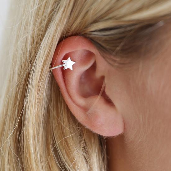 Sterling Silver Star Ear Cuff