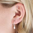 Lisa Angel Ladies' Sterling Silver Teardrop Charm Hoop Earrings on Model