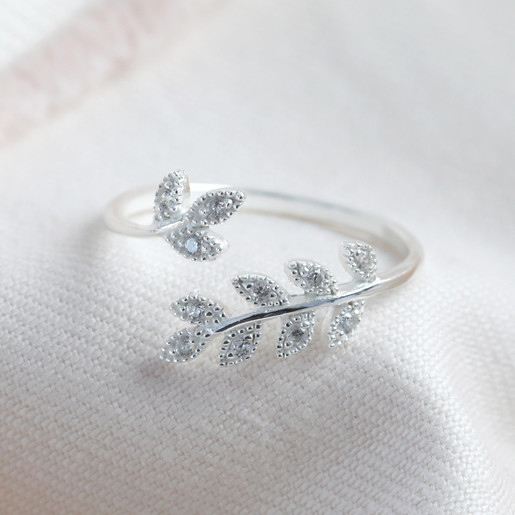 8bfc685186907 Adjustable Sterling Silver Crystal Fern Leaf Ring | Lisa Angel