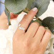 Lisa Angel Ladies' Adjustable Sterling Silver Crystal Fern Leaf Ring on Model
