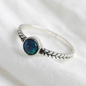 Sterling Silver Gemstone Infinity Braid Ring - M/L