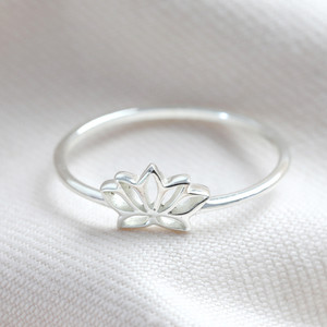 Sterling Silver Lotus Flower Ring - M/L