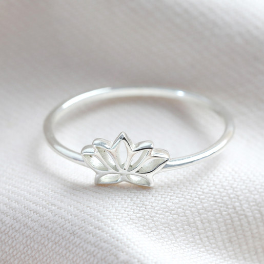 72f769bcc039f Delicate Sterling Silver Lotus Flower Ring