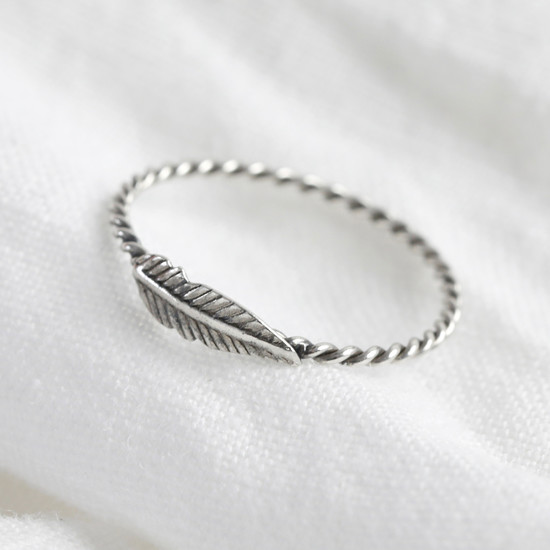Sterling Silver Thin Feather Ring - S/M