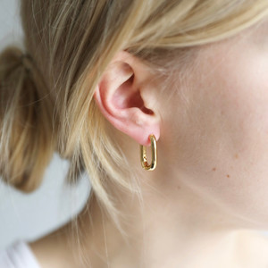 Curved Rectangle Hoop Earrings in Gold