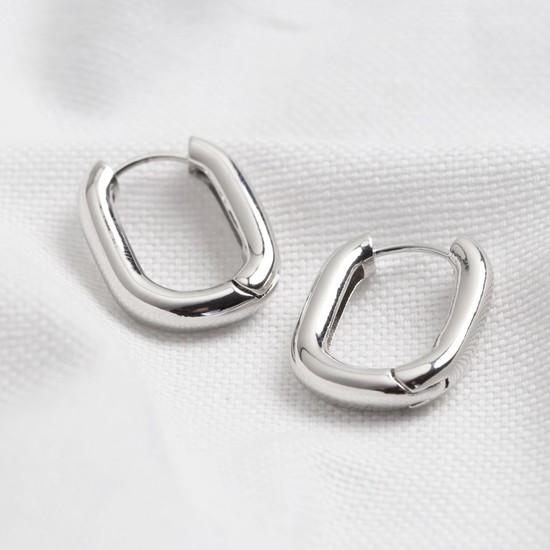 Curved Rectangle Hoop Earrings in Silver