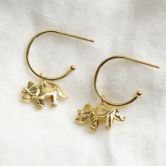 Origami dinosaur small hoop earrings gold