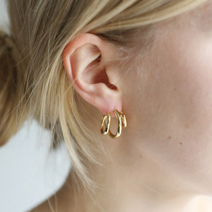 Statement Triple Hoop Earrings in Gold