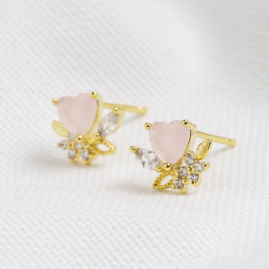 Pink Crystal Heart Stud Earrings in Gold