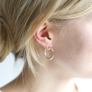 Two Part Hoop Earrings in Silver