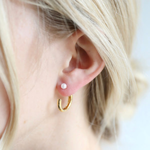 Two Part Pearl Hoop Earrings in Gold