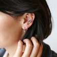 Bar Charm and Crystals Ear Cuff in Black on Model
