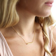 Hammered Horizontal Bar Necklace in Gold on Model