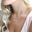 Hammered Horizontal Bar Necklace in Silver on Model