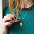 Personalised Wax Seal Pendant Necklace in Gold on Model