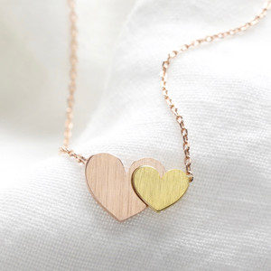Gold and Rose Gold Hearts Pendant Necklace