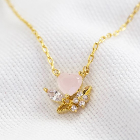 Pink Crystal Heart Pendant Necklace in Gold