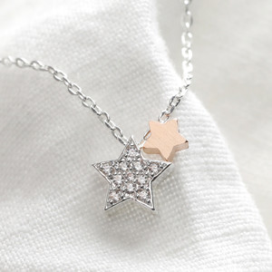 Rose Gold and Silver Crystal Stars Pendant Necklace