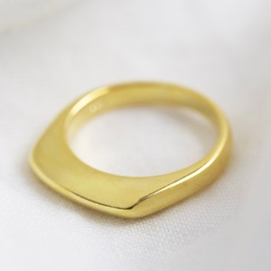 Gold Sterling Silver Thin Geometric Ring - Small