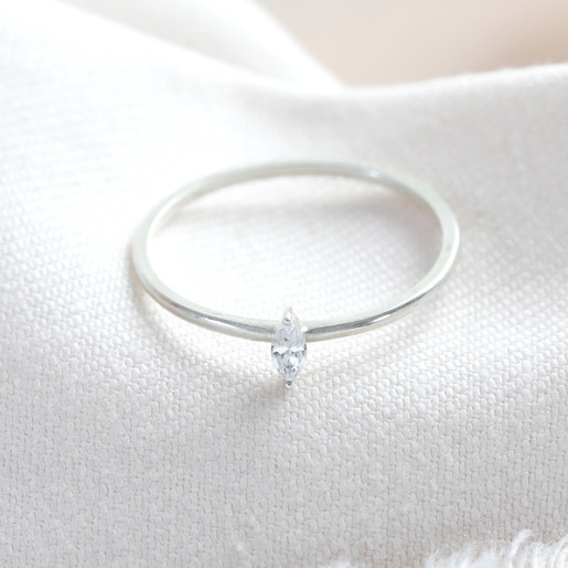 Sterling Silver Thin Diamond Stone Ring Jewellery Lisa Angel