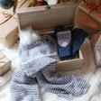 Insisde Personalised Wooden Hamper Box with Striped Winter Accessories