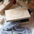 Lisa Angel Ladies' Personalised Wooden Hamper Box with Striped Winter Accessories