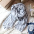 Lisa Angel Ladies' Blue and White Striped Winter Scarf