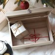 Inside of Kids Personalised Wreath Wooden Christmas Hamper Box