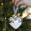 Lisa Angel Silver Personalised Pet Name Metallic Dipped Ceramic Heart Bauble