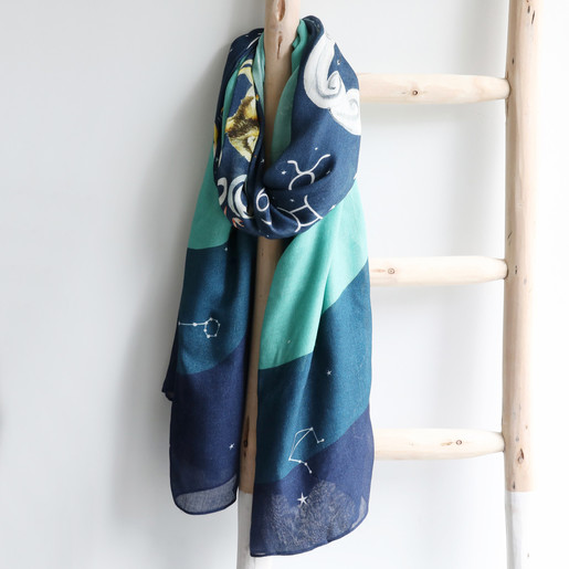 PEONY OCEANIC FISH BLUE GREEN SCARF GIFT WRAPPED BIRTHDAY FRIEND SISTER ANIMAL