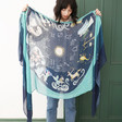 Lisa Angel Viscose Lightweight Zodiac Print Scarf in Teal