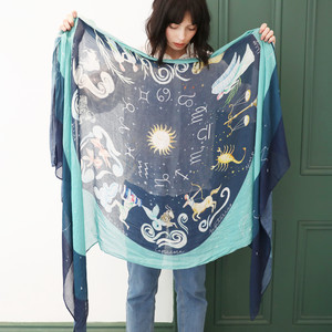 Lightweight Zodiac Print Scarf in Teal