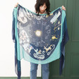 Personalised Lightweight Zodiac Print Scarf in Teal