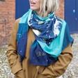 Lisa Angel Ladies' Personalised Lightweight Zodiac Print Scarf in Teal on Model