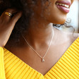 Handmade Cubic Zirconia Crystal Initial Charm Necklace on Model