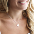 Lisa Angel Ladies' Personalised Sterling Silver Heart Charm Necklace on Model