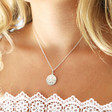 Personalised Sterling Silver St Christopher 13mm Pendant Necklace on Model