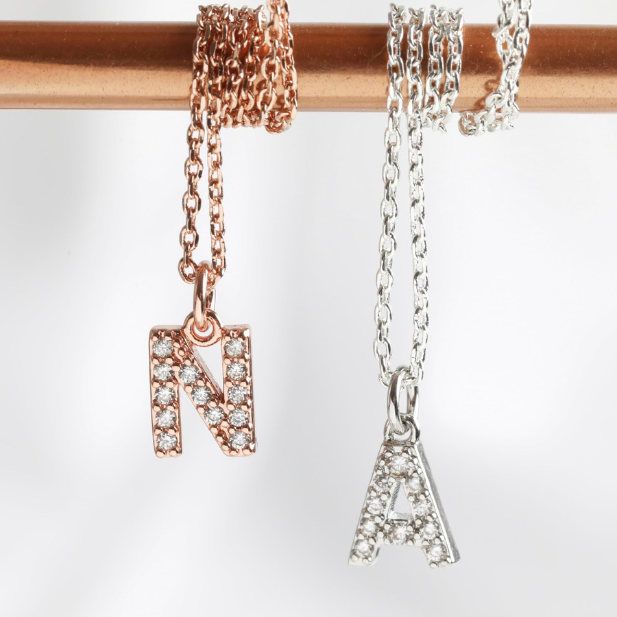 Handmade Cubic Zirconia Crystal Initial Charm Necklace