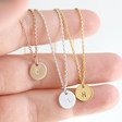 Women's Personalised Sterling Silver Initial Disc Charm Necklace