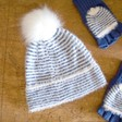 Teens' Blue and White Striped Bobble Hat