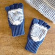 Lisa Angel Ladies' Blue and White Striped Mittens