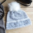 Teens' Personalised Embroidered Initials Blue and White Striped Bobble Hat