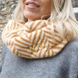 Lisa Angel Ladies' Personalised Caramel Zigzag Faux Fur Snood on Model