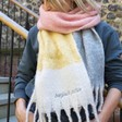 Lisa Angel Ladies' Personalised Embroidered Oversized Block Colour Scarf in Pink, Yellow and Grey